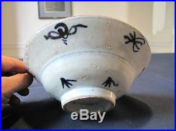Very Fine Chinese Qing Dynasty Blue & White Porcelain Bowl