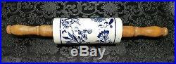 Vintage 1900s Meissen Type Blue & White Onion Porcelain Rolling Pin Rare