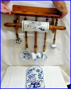 Vintage 1920's Meissen Blue & White Onion Porcelain Rolling Pin & Kitchen Items