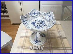 Vintage 1930s Meissen blue & white porcelain blue onion open work compote