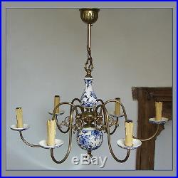 Vintage 6 Lights Delft Holland Porcelain Blue White Ceiling Fixture Chandelier