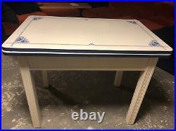 Vintage Antique Art Deco Blue & White Enamel / Porcelain Expanding Top Table