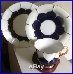 Vintage Antique MEISSEN Cobalt Blue/White Trio Cup Saucer Plate Excellent Cond