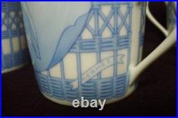 Vintage Authentic HERMES Pivoines Porcelain 6 Set Demitasse cup and Saucer