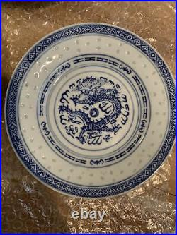Vintage Blue/White Dragon Rice Pattern Porcelain Dinner Set from China (16 pcs)