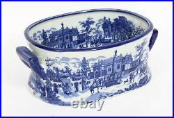 Vintage Blue & White Porcelain Planter Jardiniere 20th Century