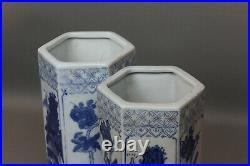 Vintage Chinese Blue And White Porcelain Hexagonal Vases Pair