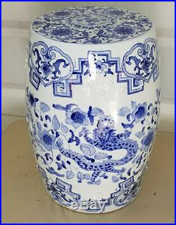 Vintage Chinese Export Dragon Phoenix Blue & White Porcelain Garden Seat Stool