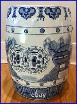 Vintage Chinese Porcelain Blue & White Chinoiserie Hand Painted Garden Stool