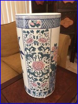 Vintage Chinese Umbrella Stand Blue White Floral Pattern Porcelain Lotus Bird