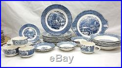 Vintage Currier & Ives Blue White Royal China Dishes The Old Grist Mill