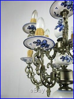 Vintage Delft Blue White Porcelain Spelter chandelier Two Tier Double 10 Lights