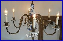 Vintage Delft Holland Porcelain Blue White Chandelier 6 Arms Ceiling Light