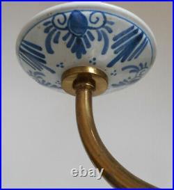 Vintage Delft Holland Porcelain Blue White Chandelier 6 Lights Ceiling Fixture