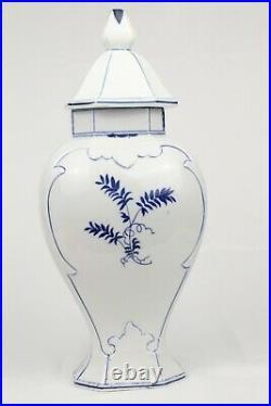 Vintage Delft Porcelain Lidded Ginger Jar Urn Blue & White Dutch 14.5