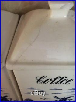 Vintage German Canister Set Blue & White