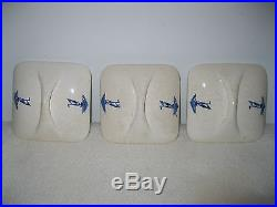 Vintage German ERNA Blue and Off White Ceramic Six Canister Set