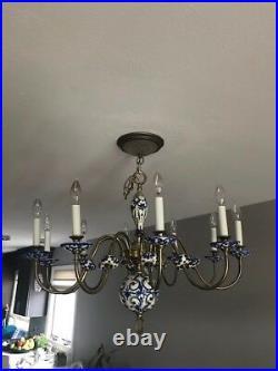Vintage Holland Porcelain Delft Blue & White Pottery Chandelier Ceiling Light