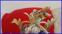 Vintage Italian Tole Chandelier Blue Porcelain Roses Birdcage Shape Chippy White