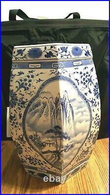 Vintage Oriental Porcelain Garden Stool Blue & White Landscape 19 Tall