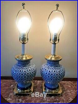 Vintage Pair Chinese Cobalt Blue & White Porcelain / Brass Jar Vase Table Lamps