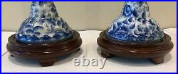 Vintage Pair Chinese Porcelain Blue and White Buffet Table Lamp with Shade 29