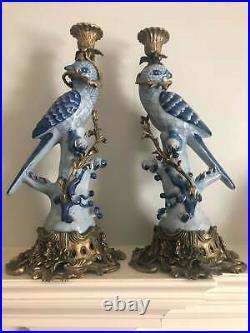 Vintage Pair Herend Porcelain Ormolu & Bronze Blue & White Parrot Candle Holders