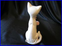 Vintage Pink & White Cat Kitty Blue Eyes Figurine Retro 50's 60's MCM Ceramic