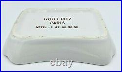 Vintage Ritz Paris Hotel White Porcelain Jewelry Trinket Dish withBlue Crown Seal