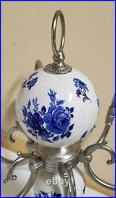 Vintage Spanish Montesinos Blue & White Porcelain 6 Arm Chandelier Spain