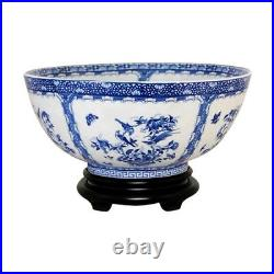 Vintage Style Blue and White Bird Chinoiserie Porcelain Bowl 14 Diameter
