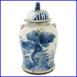 Vintage Style Blue and White Brush Stroke Tree Motif Porcelain Temple Jar 19