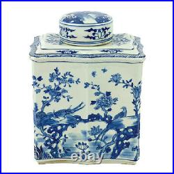 Vintage Style Blue and White Chinese Porcelain Tea Caddy Jar Bird Motif 14
