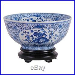 Vintage Style Blue and White Floral Chinoiserie Porcelain Bowl 14 Diameter
