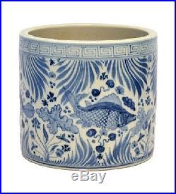 Vintage Style Blue and White Porcelain Fish Motif Flower Pot 7