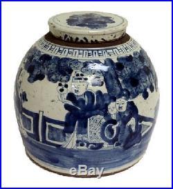 Vintage Style Blue and White Porcelain Lidded Ginger Jar 8 Immortals 11