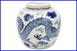 Vintage Style Blue and White Porcelain Lidded Ginger Jar Dragon Motif 12