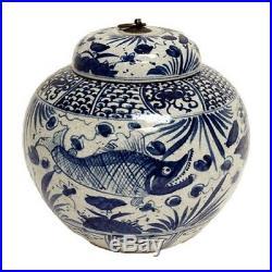 Vintage Style Blue and White Porcelain Lidded Ginger Jar Fish Motif 10