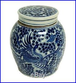 Vintage Style Blue and White Porcelain Lidded Ginger Jar Phoenix Motif 7