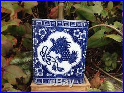 Vintage blue white Chinese Mythical Dragon Lamp Art Deco porcelain wood