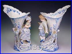 Vion & Baury Figural Porcelain Blue White Spill Vases Little Girl and Boy