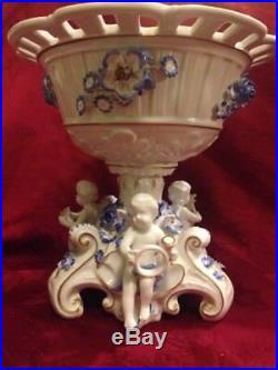 Von Schierholz Porcelain Compote Centerpiece Putti Cherub Blue & White