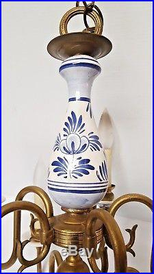 Vtg 2-Tier BLUE & WHITE DELFT HOLLAND Porcelain Dutch 10-Light Arms CHANDELIER