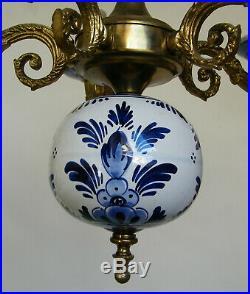 Vtg Holland Porcelain Blue White Delft Pottery Chandelier 5 Arms Ceiling Light