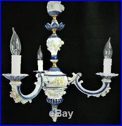 Vtg Italian Floral Porcelain Capodimonte Chandelier White -Cobalt Blue -Gold