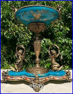 Wong Lee Blue Art Deco Porcelain & Bronze Cherub Statues Pedestal Bowl