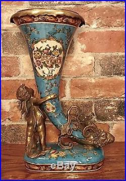 Wong Lee Blue Art Deco Porcelain & Bronze Cherub with Cornucopia Vase