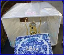(qty 2) Ralph Lauren Porcelain Blue & White Asian Koi Fish Ceramic Table Lamp
